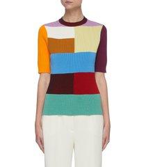 colourblock cotton blend short sleeve top