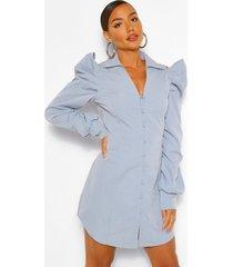 blouse jurk met uitgesneden schouders en geplooide mouwen, blauw