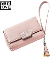 billetera mujeres- monedero de la borla de la borla de-rosa