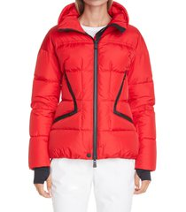 women's moncler grenoble dixence water repellent down puffer ski jacket, size 2 - red