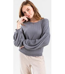 laurel smock sleeve knit top - charcoal