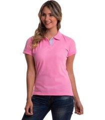camiseta polo hamer, básica de mujer, casual, para uso diario, clasica color rosado