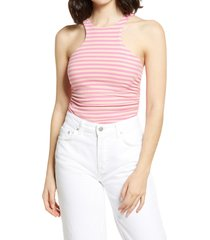 plus size women's afrm ruskin ribbed racerback tank, size large - pink