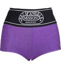 palm angels woman capsule shorts in purple lurex