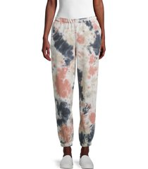 lucca women's tie-dyed cotton-blend jogger pants - yellow pink - size s