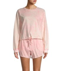 rd style women's 2-piece tie-dye organic cotton sweatshirt & shorts set - petal pink - size m