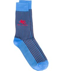 etro striped logo socks - blue