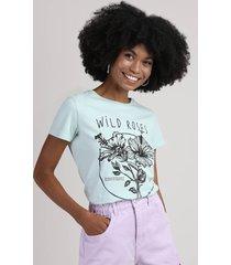 "blusa feminina ""wild roses"" manga decote redondo verde claro"