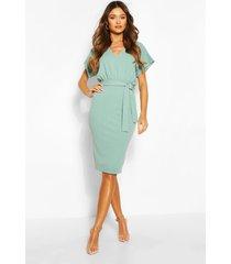 batwing belted midi dress, mint