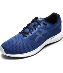 tenis running azul royal-blanco asics patriot 10