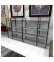 aparador industrial aço preto 180x30x98cm (c)x(l)x(a) mdf cinza modelo ind57capr