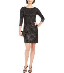 jessica howard metallic-print jersey sheath dress
