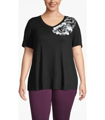 lane bryant women's active floral graphic swing tee 14/16 black