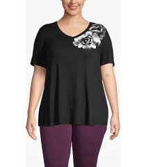 lane bryant women's active floral graphic swing tee 26/28 black