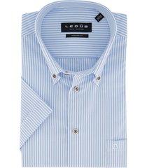 ledub overhemd korte mouw modern fit blauw wit