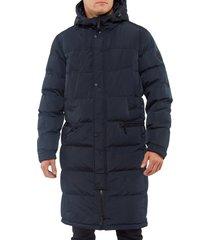men's vince camuto long hooded parka, size x-large - blue
