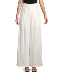 allison new york women's linen & cotton wide-leg pants - white - size m