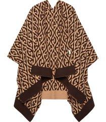 gucci g rhombus wool cotton poncho - brown