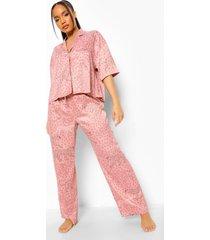 dierenprint pyjama set met korte mouwen, pink