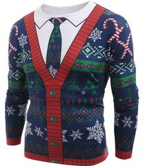 christmas cardigan printed long sleeve t-shirt