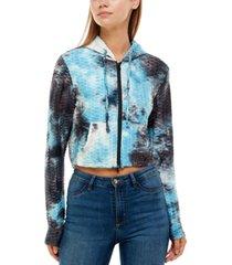 no comment juniors' honeycomb zip-front hoodie