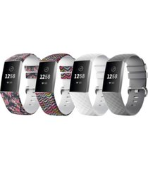 posh tech unisex fitbit charge 3 assorted silicone watch replacement bands - pack of 4
