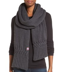 women's canada goose knit merino wool scarf, size one size - grey