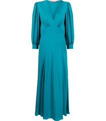 alberta ferretti empire-waist long sleeved dress - blue