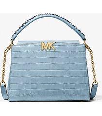 mk borsa a mano karlie media in pelle stampa coccodrillo - chambray (blu) - michael kors