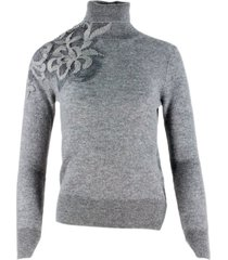 ermanno scervino cashmere turtleneck sweater with floral lace embroidery on the shoulder