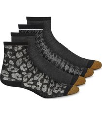 gold toe women's 4-pk. leopard shimmer crew socks