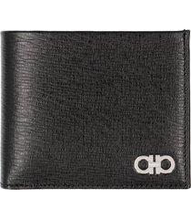 salvatore ferragamo gancini leather flap-over wallet