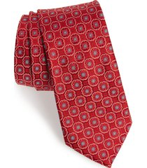 men's ted baker london geometric medallion silk tie, size one size - red