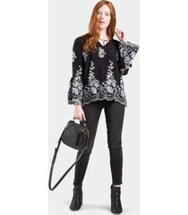 ammie embroidered blouse - black