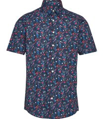 aop cotton shirt s/s kortärmad skjorta blå lindbergh
