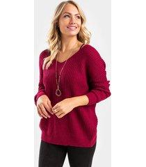 cleo twist back sweater - burgundy