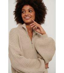na-kd reborn ekologisk stickad tröja med dragkedja fram - beige