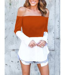 rust & white off shoulder long sleeves t-shirt