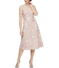 alex evenings rosette a-line dress