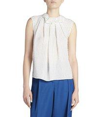 nina ricci women's pinstripe ruffle-neck silk top - off white - size 42 (10)