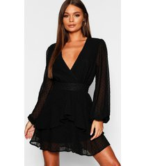 dobby chiffon mini jurk met geplooide zoom, zwart