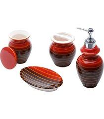 conjunto de 4 peças de cerâmica p/banheiro vertigo (vermelho e preto)