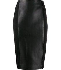karl lagerfeld zip up pencil skirt - black