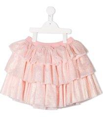 charabia tiered lurex skirt - pink