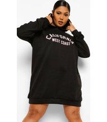 plus california sweatshirt jurk met capuchon, zwart
