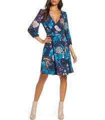 women's eliza j floral print faux wrap dress, size 12 - blue
