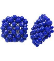 aretes cuadrados en cristal y chaquira azul