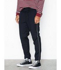 new look half elastic trouser w piping byxor navy