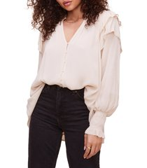 women's astr the label rashida long sleeve blouse, size large - ivory