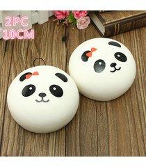 2x 10cm panda squishy kawaii buns bread charms key/bag/cell phone straps charm